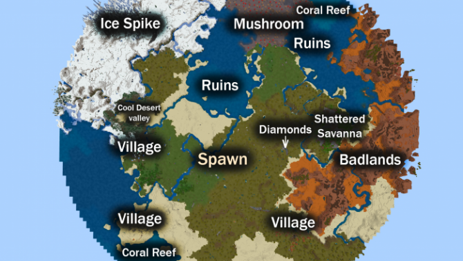 Seed 3 Villages and a Large Variety of Biomes! 1.13